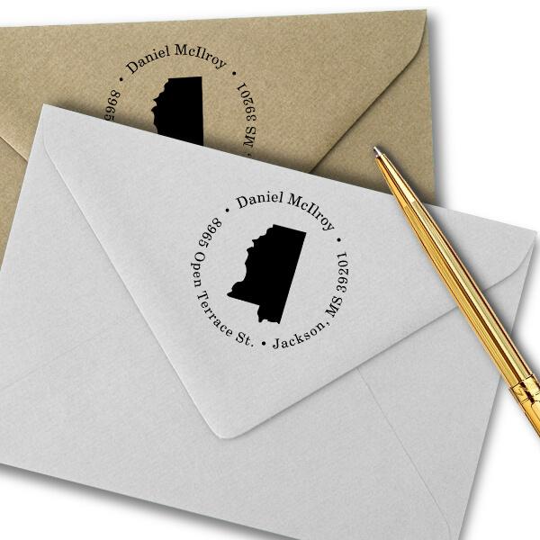 Montana Round Address Stamp Imprint Example