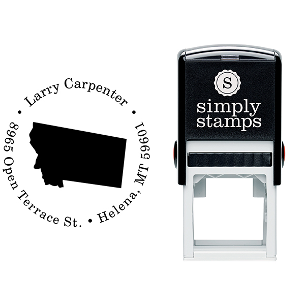 Montana Round Address Stamp Body and Design