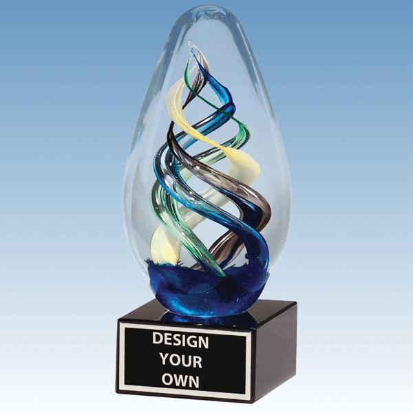 1610 - Multi-Color Egg Shaped Blown Glass Award