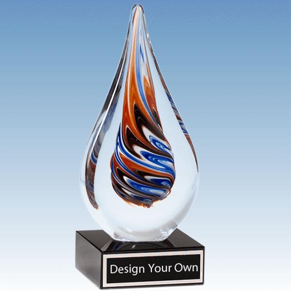 1625 - Multi-Color Teardrop Shaped Blown Glass Award