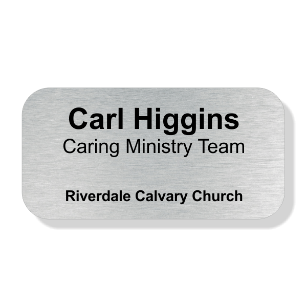 Name and Title Engraved Faith Name Tag - Large Rectangle