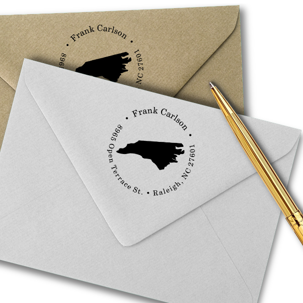 North Carolina Round Address Stamp Imprint Example