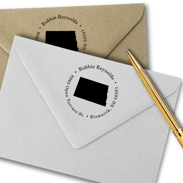 North Dakota Round Address Stamp Imprint Example