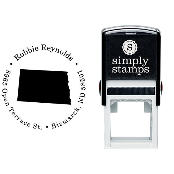 North Dakota Round Address Stamp Body and Design