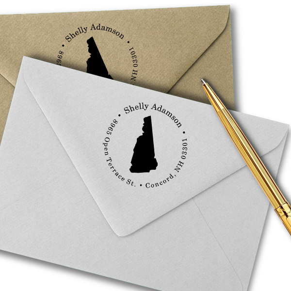 New Hampshire Round Address Stamp Imprint Example