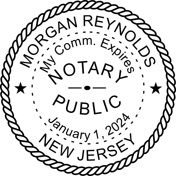 New Jersey Notary Round Imprint