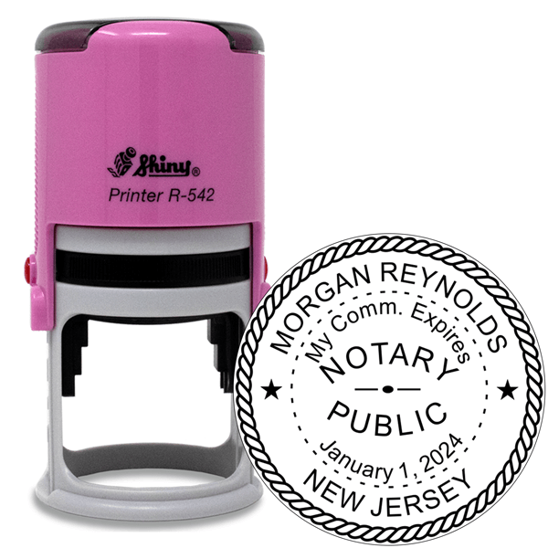 New Jersey Notary Pink Stamp - Round