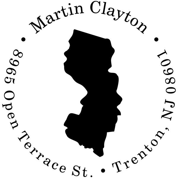 New Jersey Round Address Stamper