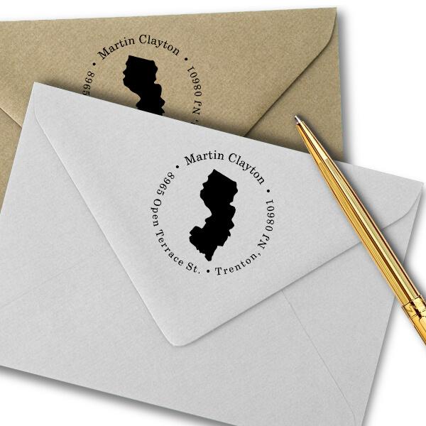 New Jersey Round Address Stamp Imprint Example