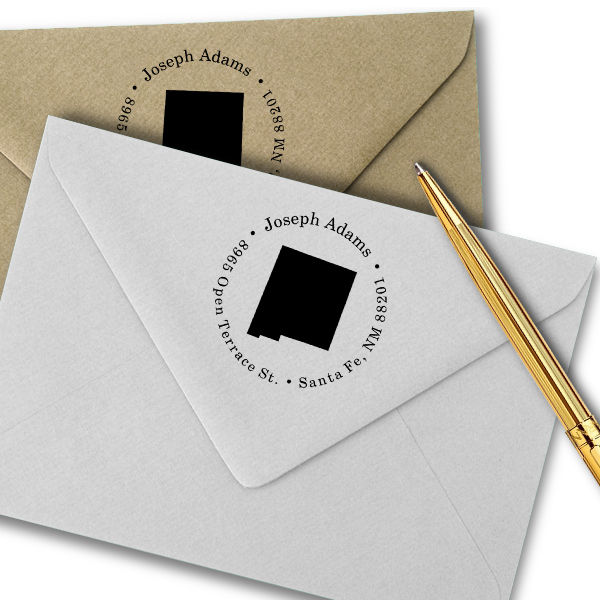 New Mexico Round Address Stamp Imprint Example