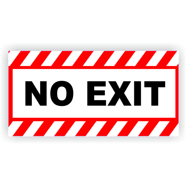 """No Exit Vinyl Decal Red Stripes - 6"""" x 12"""""""