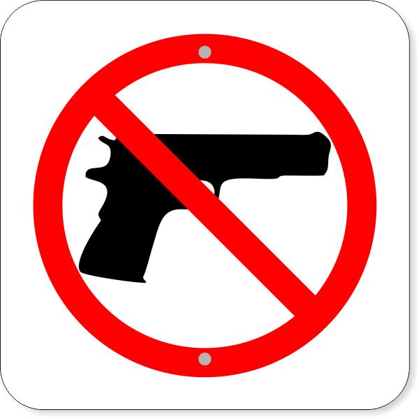 "No Firearms Aluminum Sign   12"" x 12"""