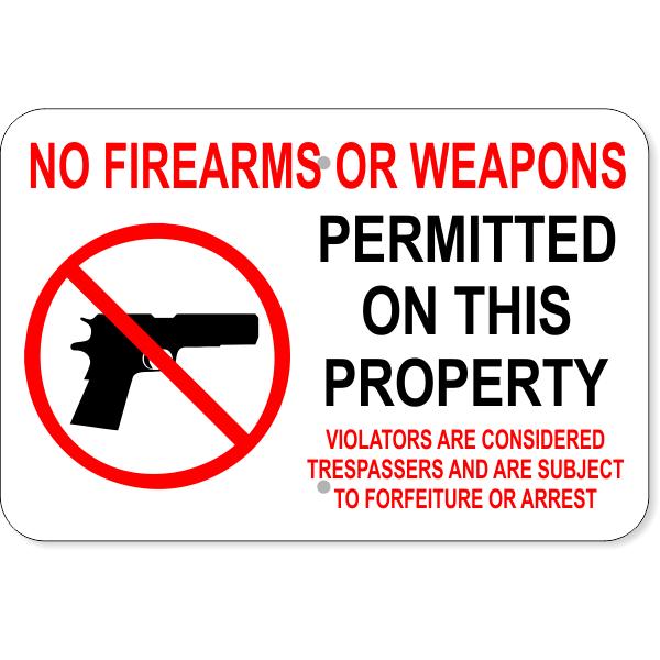 "No Firearms Trespassers Arrest Aluminum Sign   12"" x 18"""