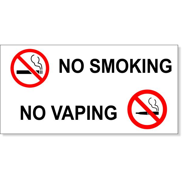 "NO SMOKING NO VAPING with Symbols Vinyl Decal   3"" x 6"""