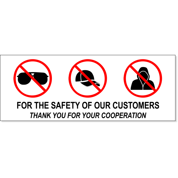 "No Sunglasses Hats Hoods Full Color Sign | 3"" X 8"""