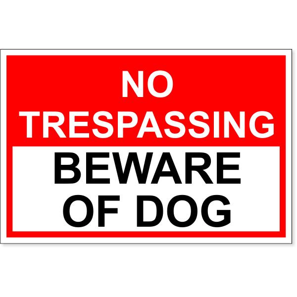 "No Trespassing Beware of Dog Decal   4"" x 6"""