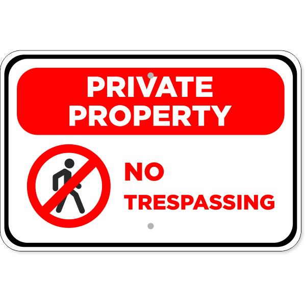 "No Trespassing Private Property Aluminum Sign | 12"" x 18"""