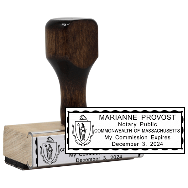 Notary Rectangle Stamp | Wood Handle