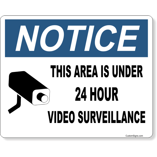 "Notice Video Camera Surveillance Full Color Sign   8"" x 10"""
