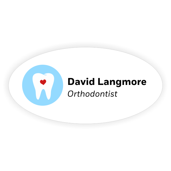 White Oval Dentist Name Tag with Heart in Tooth