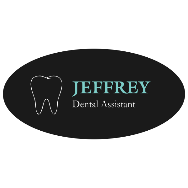 Aqua Green and Black Dental Name Tag with Tooth Shape