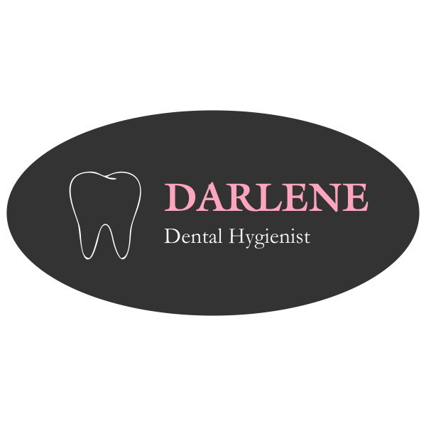 Pink and Grey Dental Name Tag with Tooth Shape