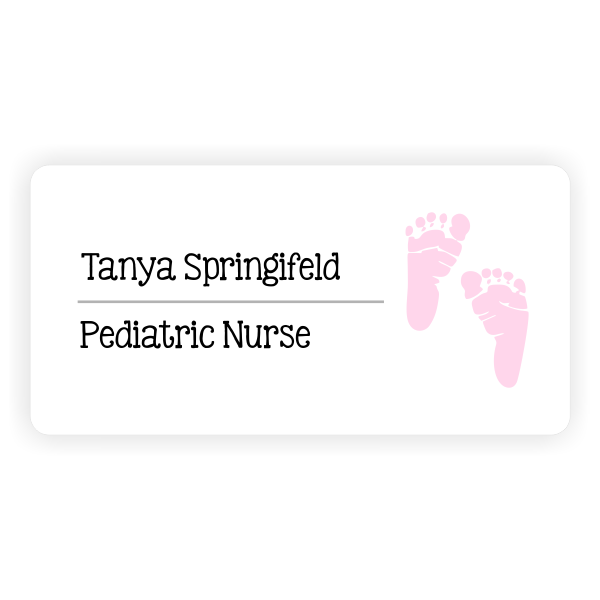 Pediatric Name Tag with Pink Baby Foot Print