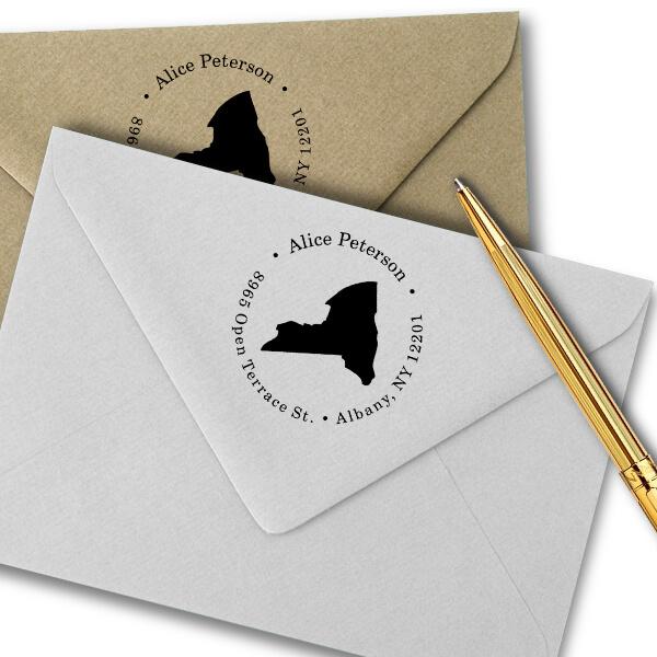 New York Round Address Stamp Imprint Example