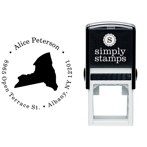 New York Round Address Stamp Body and Design