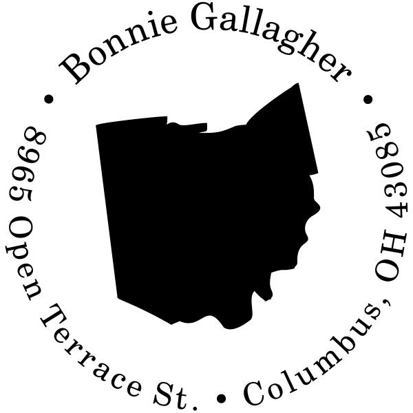 Ohio Round State Address Rubber Stamp