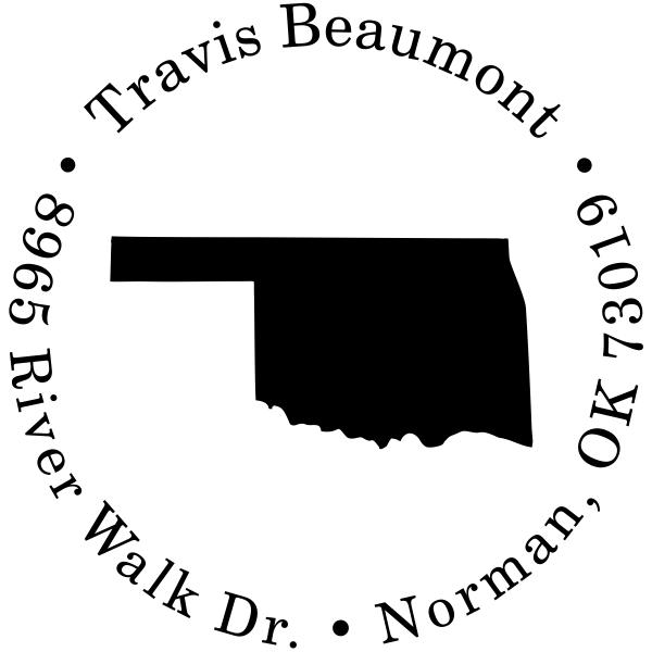 Oklahoma Round Address Stamp