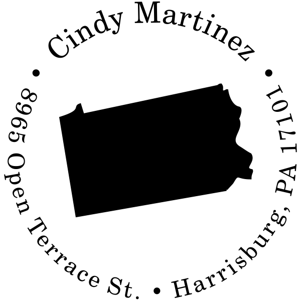 Pennsylvania Round Address Stamp