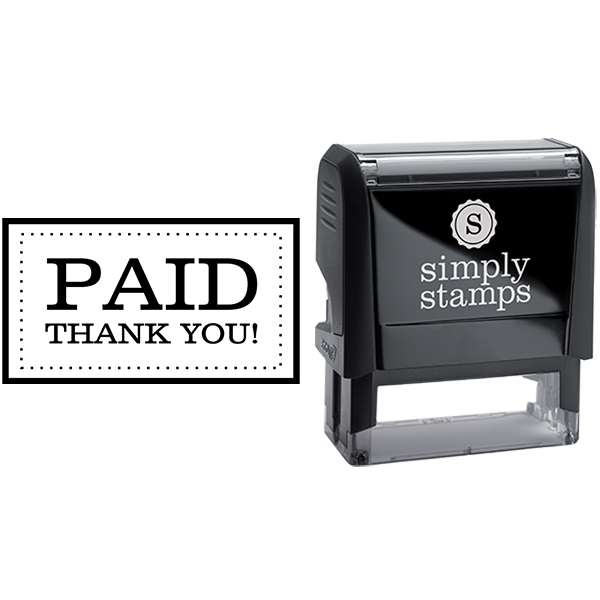 Paid with Dotted Outline Business Stamp