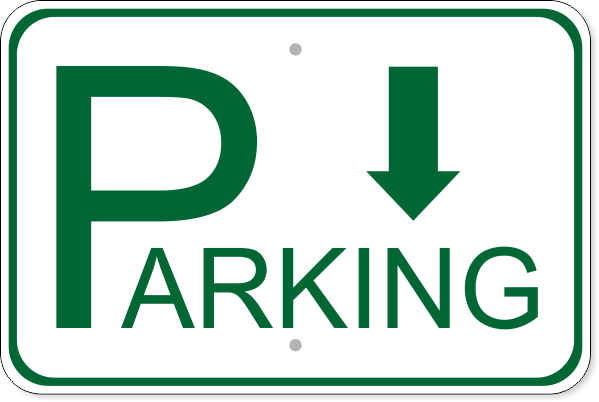 "Parking Back Aluminum Sign | 12"" x 18"""