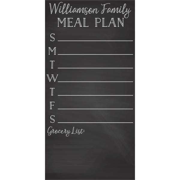 Personalized Family Meal Plan Chalkboard