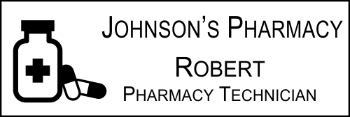 Pharmacist Pill Bottle 3 Line Name Badge