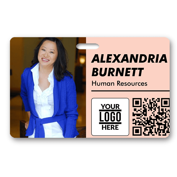 Blush Colored Horizontal Photo ID With QR Code