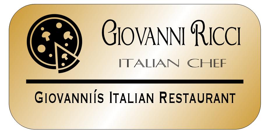 3 Line Italian Restaurant Rectangle Name Badge B