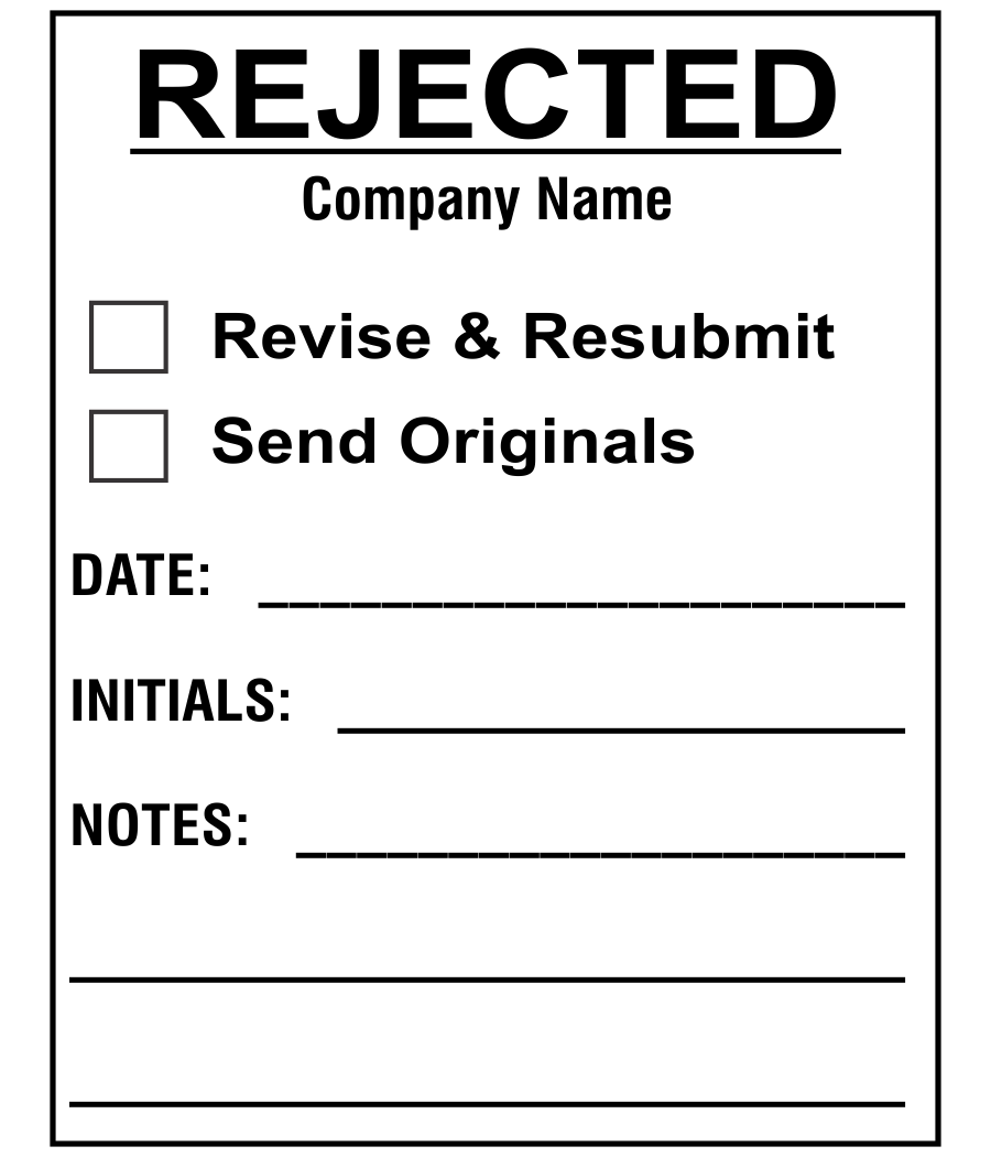 Plan & Blueprint Stamp - Rejected and Revise Form Stamp