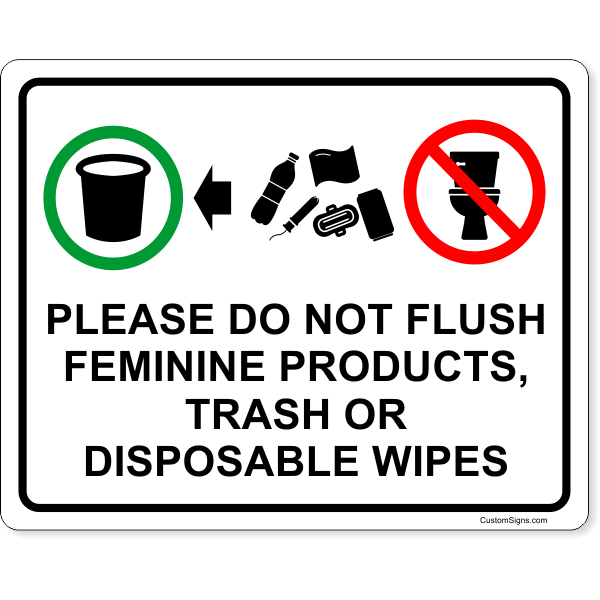 Please Do Not Flush Products Full Color Sign | 8
