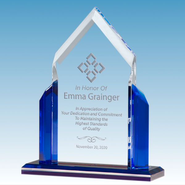 Quality Control Peak Series Clear Acrylic Award w/ Blue Accents