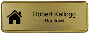 Real Estate Small Rectangular Name Badge w/ Premier Holder