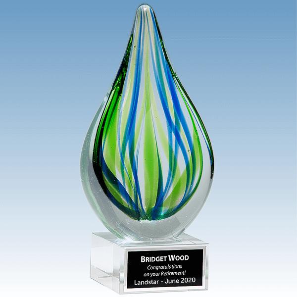Retirement Blue-Green Droplet Shaped Art Glass Award