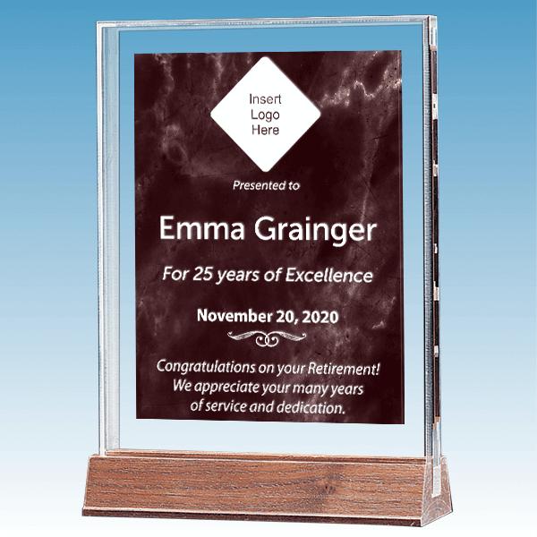 Retirement Recognition Marble Ruby Polished Acrylic Award on Walnut Base