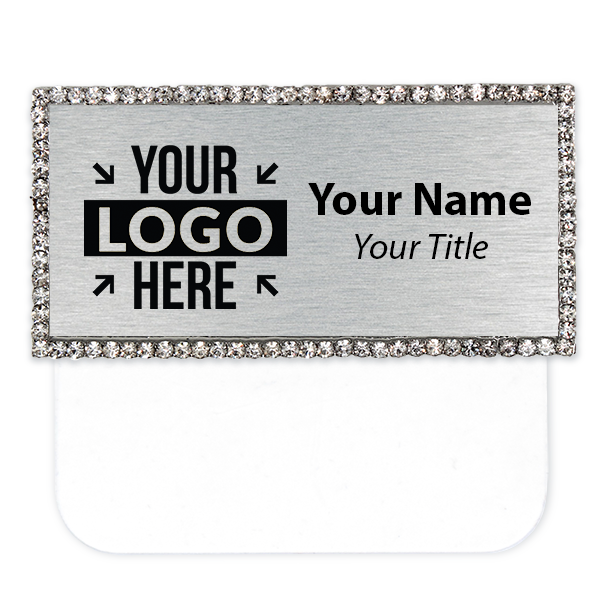"Engraved Bling Rhinestone Pocket Badge - 1.5"" x 3"""