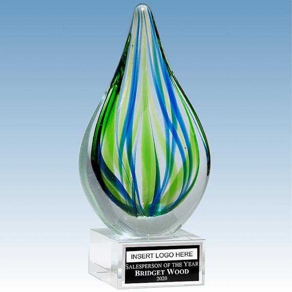 Sales Goal Blue-Green Droplet Shaped Art Glass Award