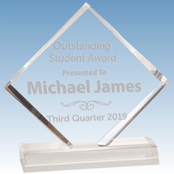 Scholastic Student Diamond Jewel Bevel Acrylic Award