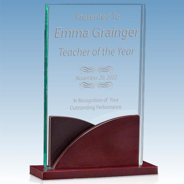 Scholastic Teacher Premium Acrylic Award with Mahogany Base