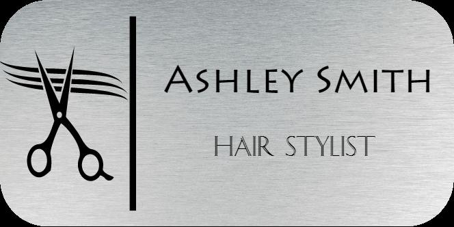 Scissors Hair Salon 2 Line Rectangle Boutique Name Tag