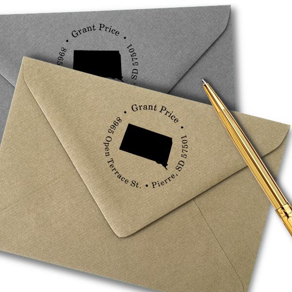 South Dakota Round Address Stamp Imprint Example